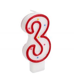 Свеча-цифра  3 Мимимишки 7 см Веселый праздник