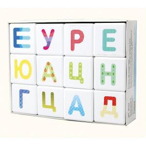Кубики  Школа дошколят Весёлый алфавит 12 шт., без обклейки Десятое королевство. Цвет: разноцветный