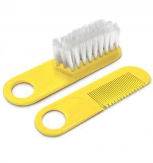 Набор  для причесок и массажа щетка+расческа, цвет: желтый Сказка