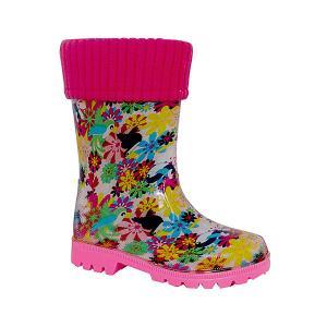Резиновые сапоги со съемным носком Kapika. Цвет: розовый