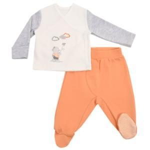 Комплект распашонка/ползунки  Мой сладкий мишка, цвет: оранжевый/белый Kidaxi