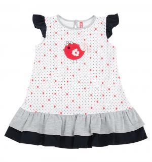 Платье  Весна, цвет: белый Kiki Kids