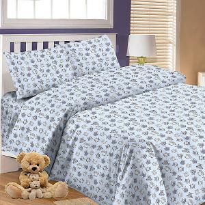 Детское постельное белье 3 предмета , простыня на резинке, BGR-65 Letto. Цвет: синий