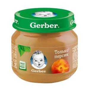 Пюре  только персик, с 4 месяцев, 80 г Gerber