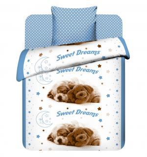 Комплект постельного белья  Сладкие сны, цвет: белый/голубой Василек