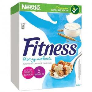 Готовый завтрак  Fitness хлопья из цельной пшеницы покрытые йогуртовой глазурью, 245 г, 1 шт Nestle