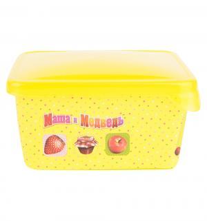 Контейнер  с прозрачной крышкой, цвет: желтый Маша и Медведь
