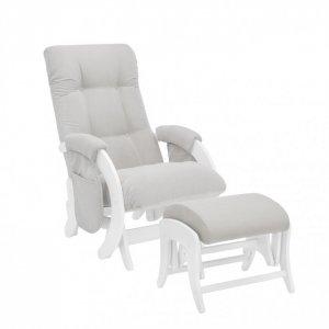 Кресло для мамы  с карманами Smile пуфом Uni Молочный дуб Milli