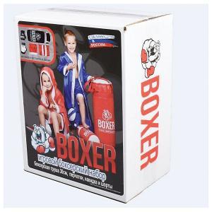 Набор для бокса  Боксер 1, 30 см Лидер. Цвет: красный