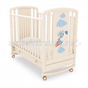Детская кроватка  Жаклин Мишка на ракете качалка Angela Bella