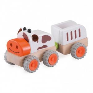 Деревянная игрушка  Трактор Му-Му с прицепом Miniworld Wonderworld