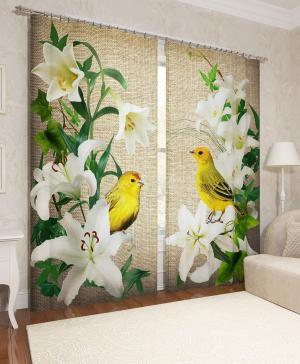 Фотошторы Желтые птички в лилиях Сирень