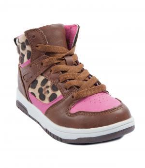 Ботинки для девочки (коричнево-розовые) King Boots. Цвет: коричневый