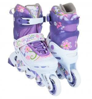 Коньки  Роликовые, цвет: фиолетовый Action Sport