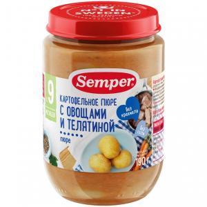 Пюре  картофельное с телятиной и морковью 9 месяцев, 190 г Semper