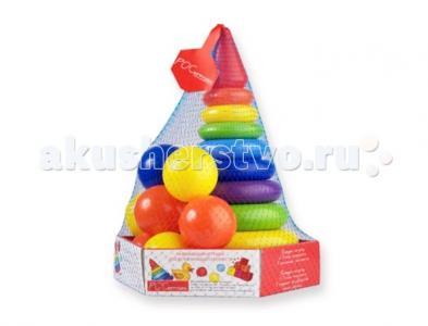 Развивающая игрушка  Набор Радуга Макси пирамида+мячики (21 деталь) Росигрушка