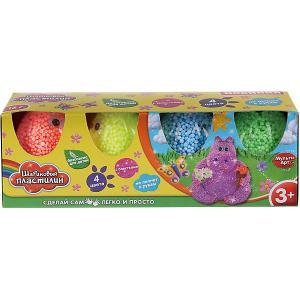 Набор шарикового крупнозернистого пластилина MultiArt с блестками, 4 цвета. Цвет: разноцветный
