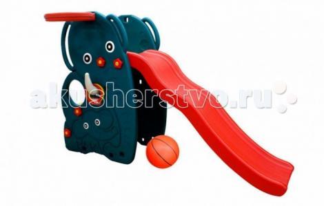 Горка  волна Слон с баскетбольным кольцом и мячом Happy Box