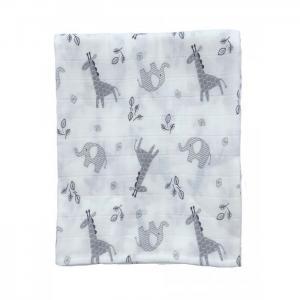 Пеленка  муслин Слоны и жирафы 115х115 см Little me
