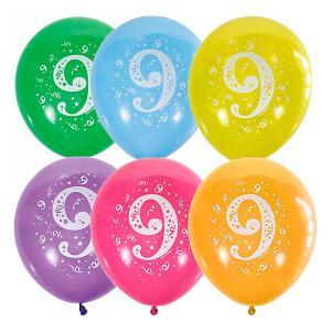 Воздушные шары  Цифра Девять 10 шт, пастель + декоратор Latex Occidental. Цвет: разноцветный