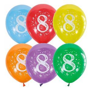 Воздушные шары  Цифра Восемь 10 шт, пастель + декоратор Latex Occidental. Цвет: разноцветный