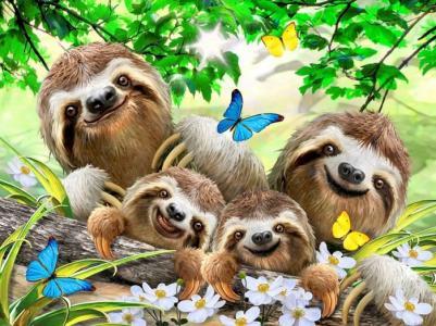 Пазл Семейное селфи ленивцев 500 деталей Educa