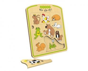 Деревянная игрушка  Рамка-вкладыш Кто что ест Woody