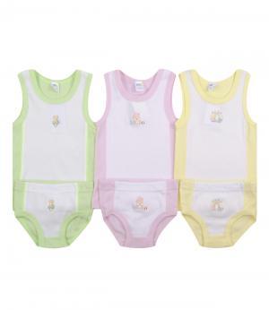 Комплект для девочки: майка и трусики 3 шт.(зеленый/желтый/розовый) Olla. Цвет: розовый