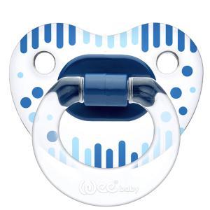 Соска-пустышка Weebaby прозрачная, ортодонтическая,с рисунком, с рождения, синяя