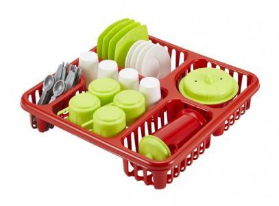 Большой набор детской посуды в сушилке Ecoiffier
