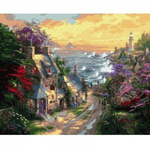 Картина по номерам Деревня у берега моря 40х50 см Molly
