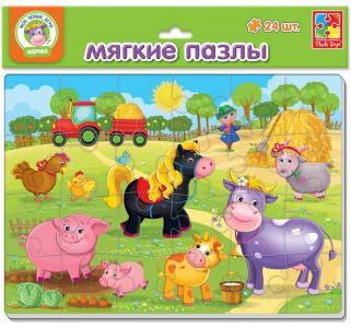 Пазлы мягкие  Ферма А4 24 элемента Vladi Toys
