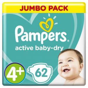 Подгузники Active Baby Maxi Plus р.4+ (10-15 кг) 62 шт. Pampers
