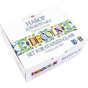 Витражные краски 3ХК Decola 9 цветов, с контуром Невская палитра