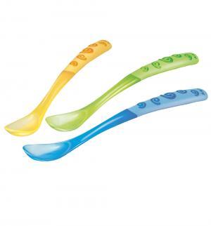 Ложки  для кормления пластик, цвет: зеленый/желтый/синий Nuby