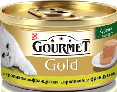 Корм влажный  Gold для взрослых кошек, кролик, 85г Gourmet