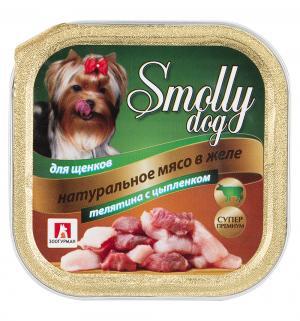 Корм влажный  Smolly Dog для щенков, телятина/цыпленок, 100г Зоогурман