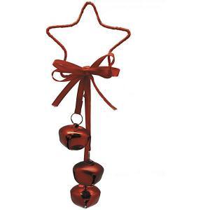 Украшение на ёлку  Звезда с тремя бубенчиками, 21 см красное B&H. Цвет: разноцветный