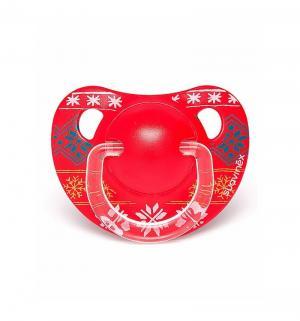 Пустышка  Winter collection Снежинки силикон, с 18 мес, цвет: красный Suavinex