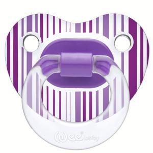 Соска-пустышка Weebaby прозрачная, ортодонтическая,с рисунком, от 18 мес., фиолетовая