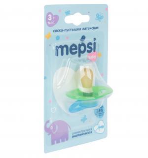 Соска-пустышка  Baby Классическая латекс, с 3 мес, цвет: салатовый Mepsi