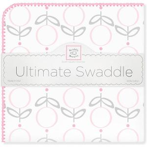 Фланелевая пеленка  Lolli Fleur Pink, 110х110 см SwaddleDesigns. Цвет: розовый/белый