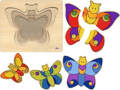 Деревянная игрушка  Пазл 4 слоя Бабочка Goki