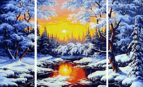 Картина по номерам триптих Зимняя сказка 50х80 см Schipper