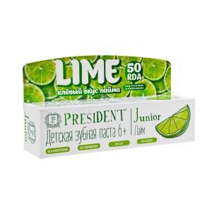 Детская зубная паста  Junior со вкусом лайма 50 RDA, от 6 лет, мл President