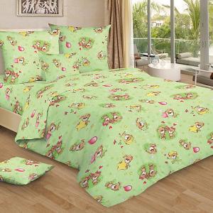 Детское постельное белье 3 предмета , простыня на резинке, BGR-75 Letto. Цвет: зеленый