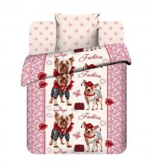 Комплект постельного белья  Сладкая парочка, цвет: бежевый/красный Василек