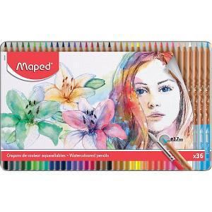 Акварельные карандаши  Artist с кисточкой, 36 цветов Maped