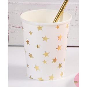 Стаканы  Белые с золотыми звездами, 250 мл, 6 шт. Феникс-Презент