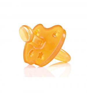 Пустышка  Star&Moon Ортодонтическая каучук, с рождения, цвет: оранжевый Hevea